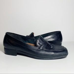 Black Leather Woven Print Loafers with Tassels